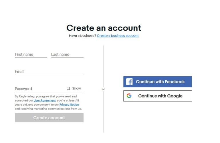 eBay create account