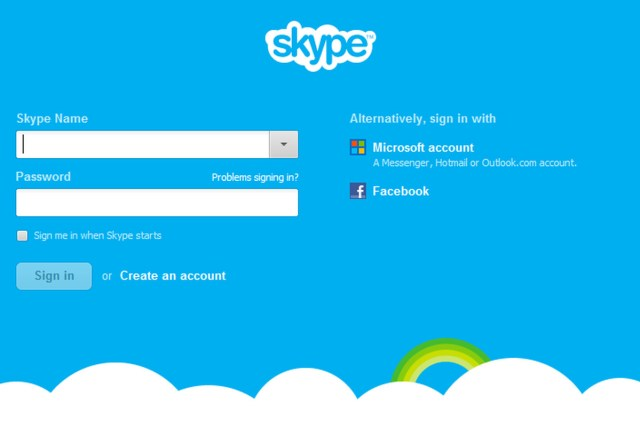 Skype Sign in with Facebook