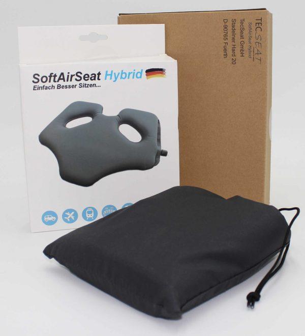 Verpackt in einer recycelten Kartonverpackung kommt ihr SoftAirSeat Hybrid sicher und gut bei ihnen an.