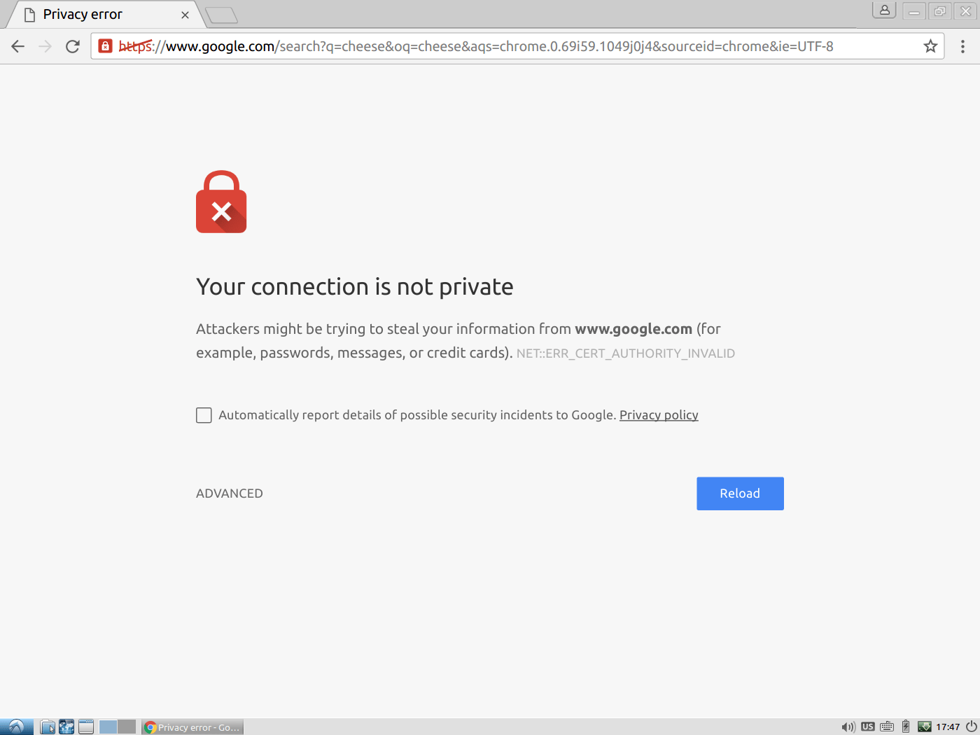 Chrome Privacy Error Issue