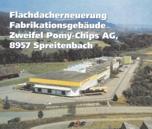 Flachdacherneuerung Fabrikationsgebäude Pomy-Chips AG, 8957 Spreitenbach
