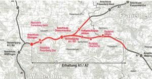 Erhaltungsprojekt N1 / N7 Ohringen bis Grenze ZH/TG