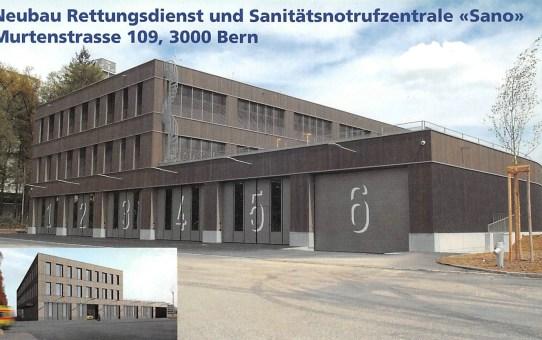 Bern mit Vorwärtsstrategie: Neubau Rettungsdienst und Sanitätsnotrufzentrale «Sano»