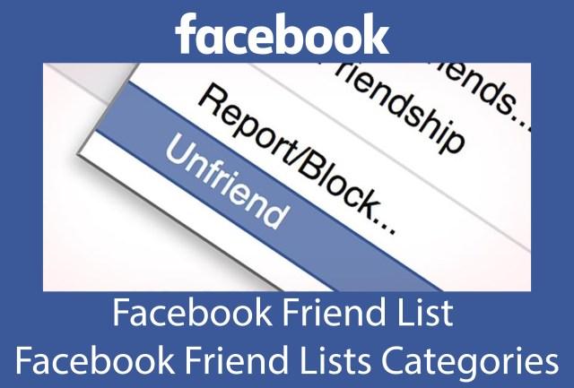 Facebook Friend List - Facebook Friend Lists Categories