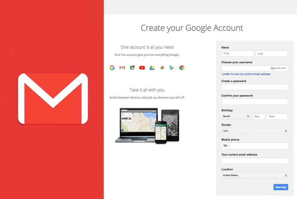 New Gmail Sign Up - Create a Gmail Account