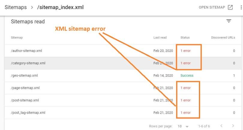 XML sitemap error