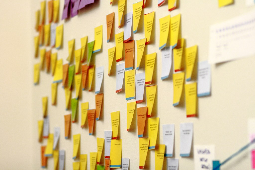 Sticky notes on the wall of the Wikimedia Foun...