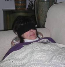 Julie with blindfold