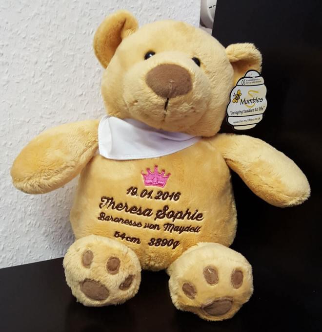 Teddy mit Namen und Geburtsdaten und Motiv Krone