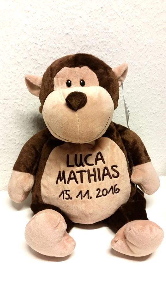 Plüschtier Affe mit Name und Geburtsdatum