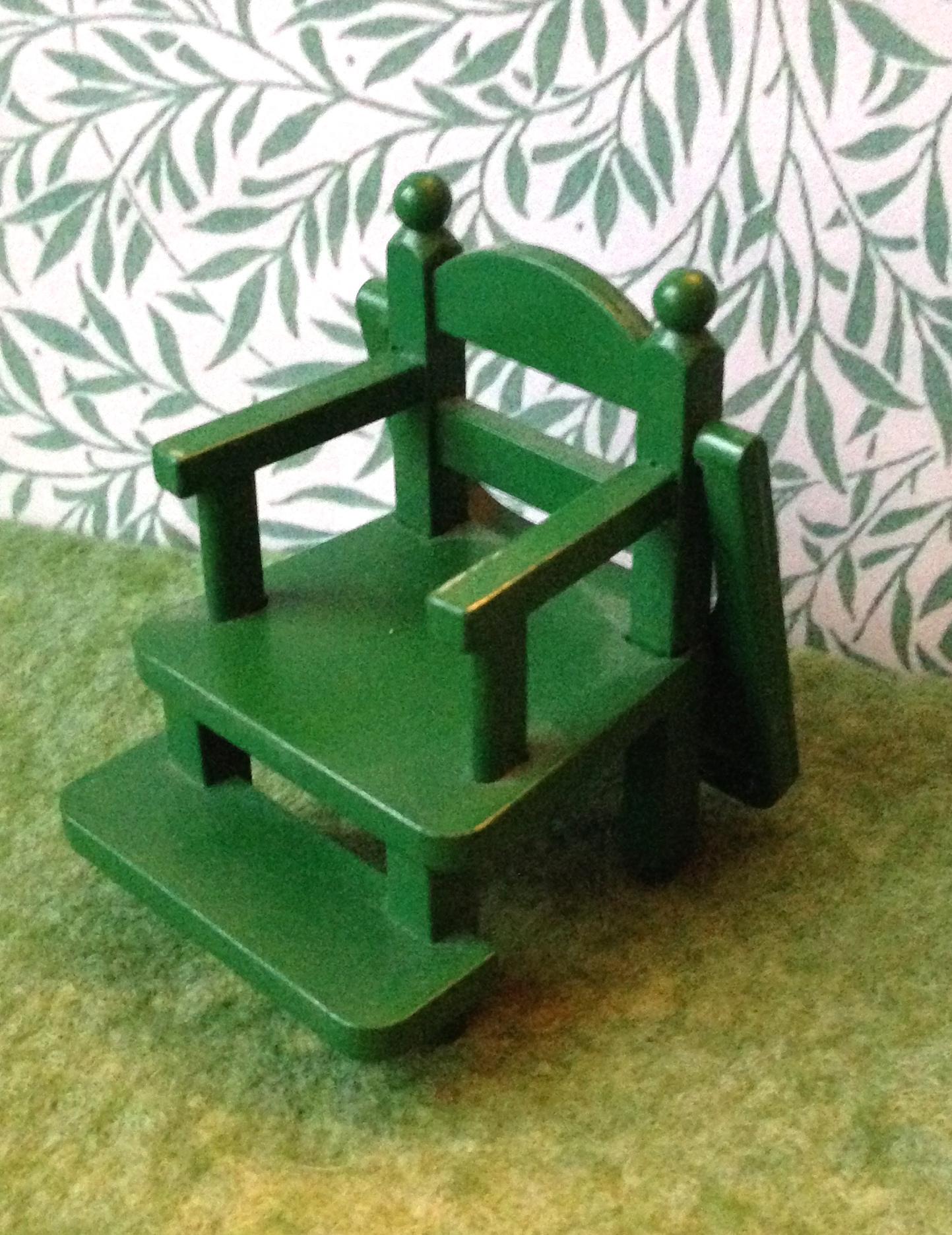 green high chair chiavari cushions teddy bears and friends sylvanian families