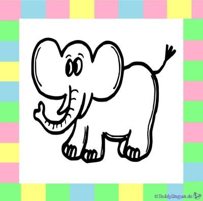 Elefant zum Ausmalen auf weißem Hintergrund