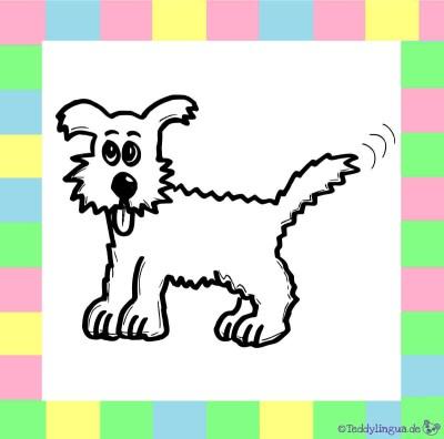 Hund zum Ausmalen auf weißem Hintergrund