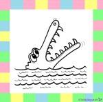 Krokodil zum Ausmalen auf weißem Hintergrund