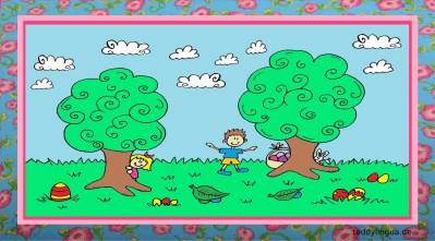 Kinder suchen im Garten die Ostereier