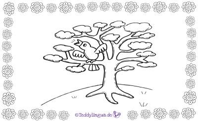 Der Vogel singt auf dem Baum. Ein Bild zum Ausmalen.