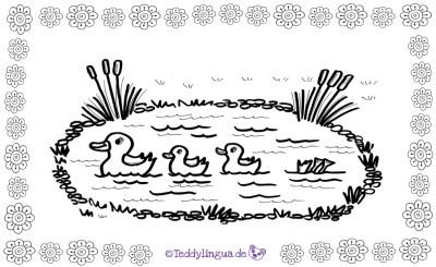 Enten auf dem See zum Ausmalen