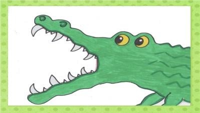 Das Krokodil macht das Maul weit auf