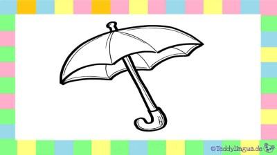 Regenschirm zum Ausmalen auf weißem Hintergrund
