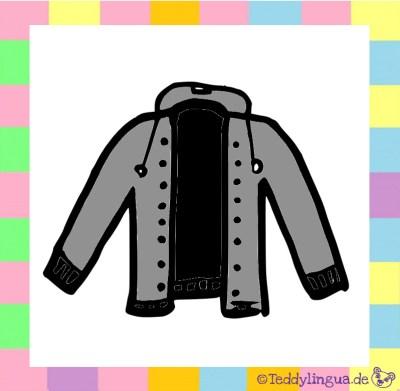 eine grau-schwarze Jacke