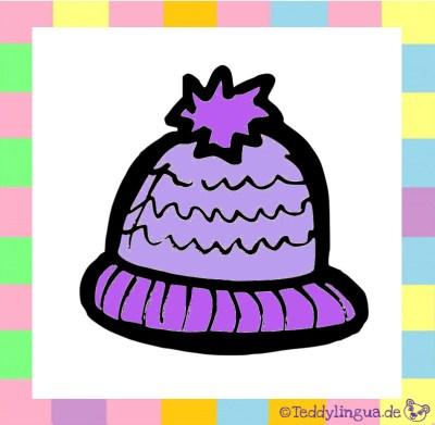 eine lila Mütze