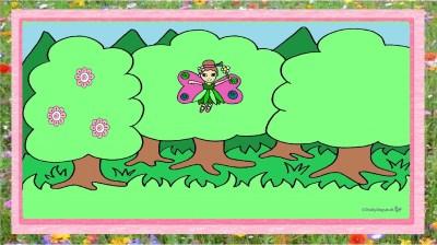 Frühlingsfee fliegt durch den Wald
