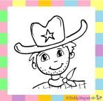 Karnevalskostüm Cowboy zum Ausmalen