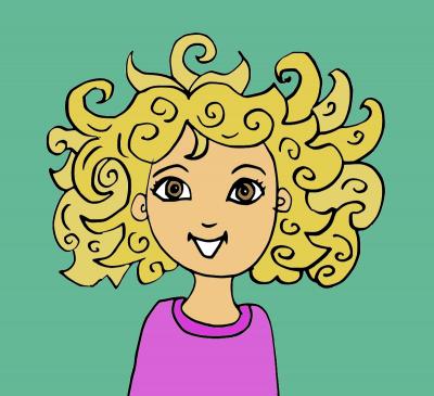 Sie hat lockige Haare.