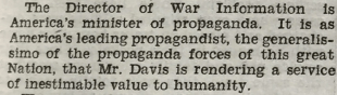 OWI Director Called Minister of Propaganda by Rep. Louis L. Ludlow March 29 1944