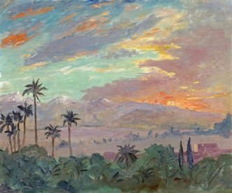 "** FILE ** This file photo supplied by Bonhams New York auction house shows a 1935 painting by Winston Churchill of a Moroccan sunset, ""Sunset Over the Atlas Mountains."" The painting by Winston Churchill of a Moroccan sunset, a view he loved so much that he invited President Franklin D. Roosevelt to see it, has sold for $350,000 (220,000 euros) an auction company Web site says. (AP Photo/Bonhams New York, File) ** NO SALES **"
