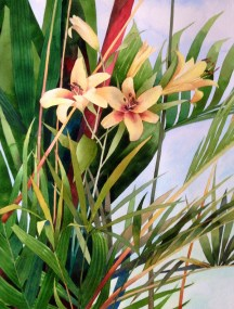 2. Florida Lilies, Watercolor, 30x22 $2100