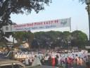 banner at alun-alun, sholat idul fitri
