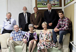 "The cast of ""The Coot Elimination Committee"" includes, back row from left, Jerry Oshinsky, Stuart Orenstein, Ed Giron and Sandy McOwen; seated, from left, Tim heard that phrase and right then and there Whitcomb, Deborah Helm, Julie Allen and Char Smith."
