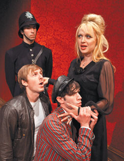 "Clockwise from top left: Julian Rubel plays policeman Bobby Meadows, Heather Prete is Fay, Kerby Joe Grubb plays Hal and Wyatt Fenner is Dennis in Ensemble's ""Loot."" David Bazemore Photo"