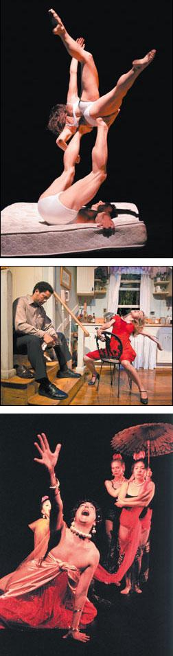 At top, 'SUMMERDANCE,' LARRY KEIGWIN CO., 2004. Center, 'MISS JULIE,' SANTA BARBARA THEATRE, 2007. Above, 'SHAKYAMUNI, THE LIFE OF BUDDAH,' CIRCA 2000