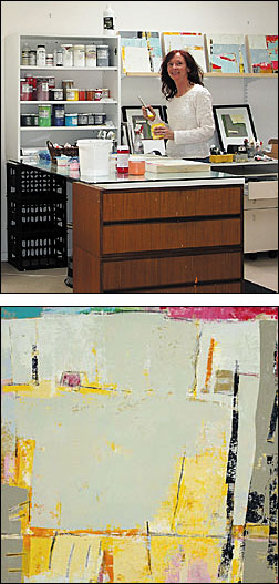 At top, Peggy Ferris works in her spacious studio. Above, 'GIRL,' PEGGY FERRIS