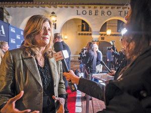 "Sandra Adair, editor of ""Boyhood,"" speaks to reporters before the Santa Barbara International Film Festival's Variety Artisans Awards were presented at the Lobero Theatre."