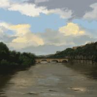 le pont Marie pendant l'inondations de 2016