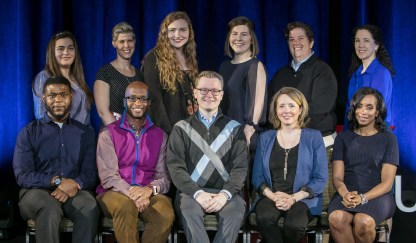 """Back row, left to right, Mariela Shaker, Doris C. Rusch, Rachel Pride, Nelly Mueller, Elizabeth """"Biz"""" Lindsay-Ryan, Jeanne Williams, front row, left to right, Jameson Dixon Jr., Brian A. Thompson, Tom Reitz, Julia DiGangi, Kelly Richmond Pope. Speakers for TEDxDePaulUniversity Tuesday, April 18, 2017, in the Lincoln Park Student Center. TEDxDePaulUniversity is an independently run, self-organized event. Through the theme """"Courage to Connect"""" 10 speakers from across the DePaul community challenged thoughts and inspired ideas through a series of engaging talks and presentations. (DePaul University/Jeff Carrion)"""