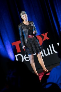 """Doris C. Rusch presents her """"Why Game Designers are Better Lovers"""" talk at TEDxDePaulUniversity Tuesday, April 18, 2017, in the Lincoln Park Student Center. TEDxDePaulUniversity is an independently run, self-organized event. Through the theme """"Courage to Connect"""" 10 speakers from across the DePaul community challenged thoughts and inspired ideas through a series of engaging talks and presentations. (DePaul University/Jeff Carrion)"""