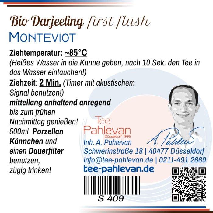 Bio Schwarzer Tee Darjeeling Monteviot first flush | hell aromatisch frisch von Tee Pahlevan