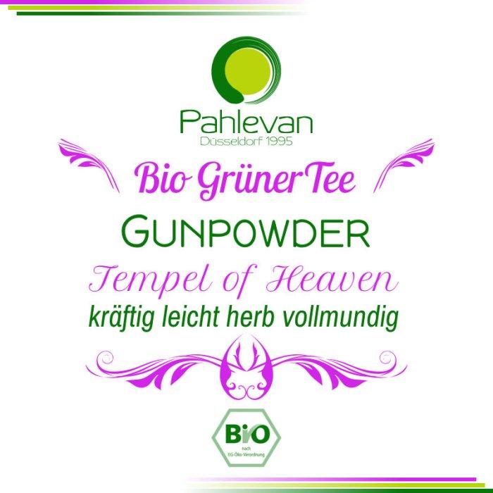 Bio-Grüner Tee China Gunpowder-Tempel-of-Heaven | kräftig leicht herb vollmundig von Tee Pahlevan