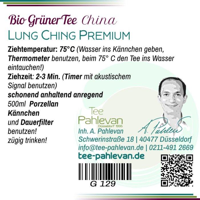 Bio Grüner Tee Lung Ching Premium   75°C, Ziehzeit 2-3 Minuten anregend von Tee Pahlevan