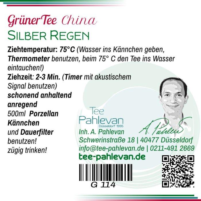 Grüner Tee Silber Regen |75°C, Ziehzeit 2-3 Minuten anregend von Tee Pahlevan