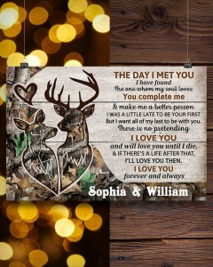 Personalized Deer The day I met you poster Horizontal Poster