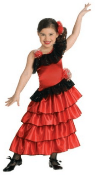 Child's Red and Black Spanish Princess Costume