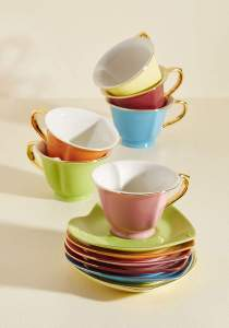 07 ModCloth Dream and Sugar Tea Set in Rainbow - Gold Trim