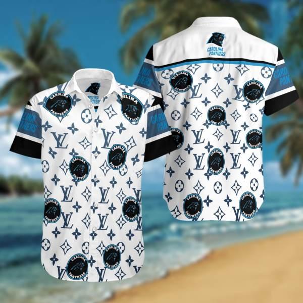 Carolina Panthers Summer Short Sleeve Hawaiian Beach Shirt