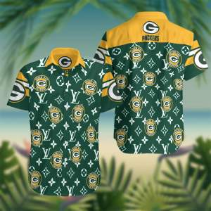 Green Bay Packers Summer Short Sleeve Hawaiian Beach Shirt