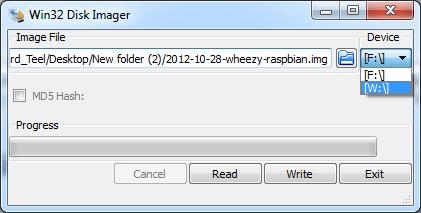 Win32DiskImager utility screen